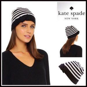 Kate Spade Black and White Stripe 100% Wool Beanie